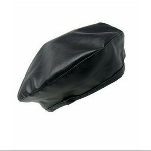 NWT Faux Leather Beret | Black